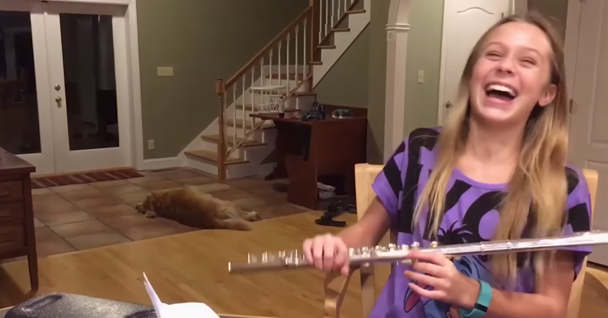 Dog Hilariously Complains When Girl Plays Flute