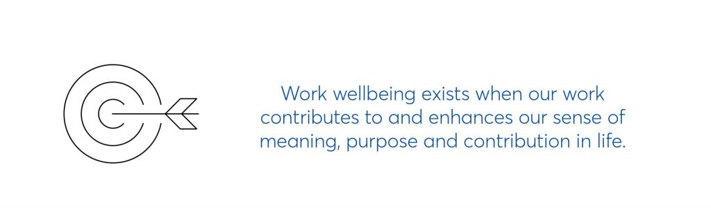 work wellbeing exists when our work contributes to and enhances our sense of meaning, purpose and contribution in life